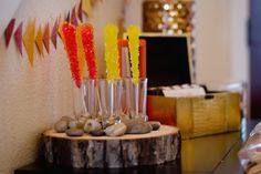 Rustic Camping birthday party rock candy