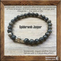 KEEP CALM: Spiderweb Jasper Yoga Mala Bead Bracelet