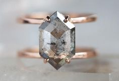 ONE OF A KIND SALT AND PEPPER HEXAGON DIAMOND ENGAGEMENT RING-DOUBLE BAND :: Alexis Russell