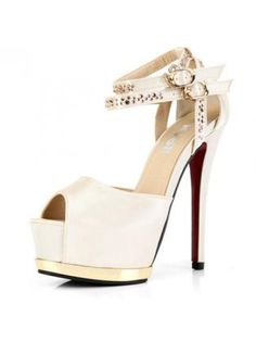 Apricot Satin High Heel Ankle Wrap Sandals
