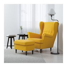 IKEA - STRANDMON, Wing chair, Skiftebo yellow, , You can really loosen up and relax in comfort because the high back on this chair provides extra support for your year guarantee. Read about the terms in the guarantee brochure. Strandmon Ikea, Chaise Ikea, Ikea Sofa, Ikea Chairs, Sofa Chair, Fabric Armchairs, Ottomans, Wing Chair, Diner Decor