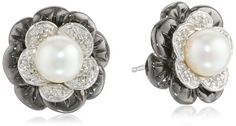 Sterling Silver Freshwater Cultured Button Pearl Flower Stud Earrings -- You can find more details at http://www.amazon.com/gp/product/B005SB4BHO/?tag=ilikeboutique09-20&kl=130816012444