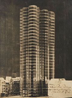 Photomontage Showing The Model For A Glass Skyscraper For The Berlin Friedrichstrasse, Ludwig Mies van der Rohe, 1922 Ludwig Mies Van Der Rohe, Interesting Buildings, Amazing Buildings, Beautiful Architecture, Modern Architecture, Bauhaus, Illinois, Museum Architecture, Paint Photography