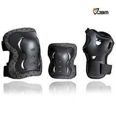 JBM Adult / Children Cycling Roller Skating Knee Elbow Wrist Protective Pads--Black / Adjustable Size, Suitable for Skateboard, Biking, Mini Bike Riding and Other Extreme Sports  Suitable for children  Wrist guard, knee pads and elbow pads included  Material : Plastic, Nylon, Sponge  The most popular protection for skating and other activities  Great for ice and roller skating