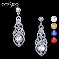OCESRIO Austrian Crystal Wedding Earrings Dangling Earrings with Stones Party Earrings for Women Spring Fashion Jewelry ers-g95