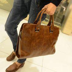 Vintage Men's Leather Messenger Shoulder Crossbody Bags Business Laptop Handbag