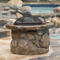 New Outdoor Fire Pit Patio Iron Stone Back Yard Wood Burning Screen Fireplace #ChristopherKnightHome #Outdoor #Fire #Patio #Pit