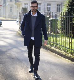 layer up // menswear, mens fashion, mens style, peacoat, sweater, oxford, denim, glasses, chelsea boots