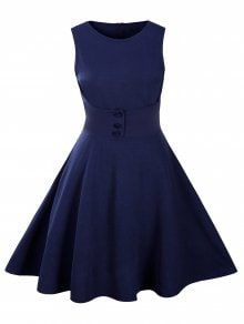 Buttoned Sleeveless Knee Length Swing Vintage Dress - Purplish Blue S