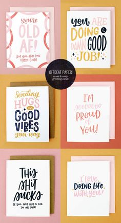 Sweet & Sassy Hand Lettered Greeting Cards from Offbeat Paper Co. Types Of Lettering, Lettering Design, Spot Illustration, Planners, Posca Art, Papers Co, Stationery Design, Cool Cards, Greeting Cards