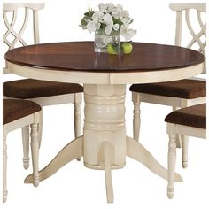 "Stephens Dining Table by Daily Sales - Wildon Home - Finish: Buttermilk/Dark Cherry. Dimensions: 30"" high x 48"" wide x 48"" deep ($336.00)  I like the white base with the dark wood top."