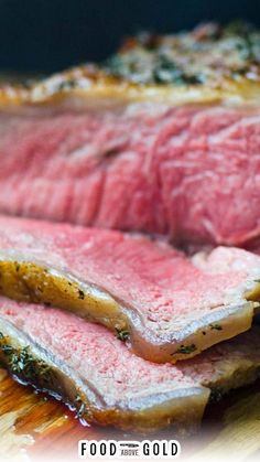 This decadent New York strip roast is cheaper and more tender than prime rib, for a fraction of the cost! Plus, the savory red wine reduction makes this striploin roast elegant enough for any occasion! New York strip loin is a wonderful alternative to prime rib because the fat cap and marbling make it flavorful and ideal for roasting. Along with being more tender, prime grade striploin roast averages at least $4-5 less per pound than prime rib. | @foodabovegold #newyorkstrip #steakrecipe New York Strip Roast, Red Wine Reduction, Cooking For Beginners, Cooking Bacon, Easy Family Meals, Learn To Cook, Seafood Dishes, Steak Recipes, Favorite Recipes