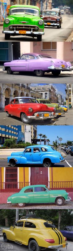 wonderful 50's kitsch colourful cars of cuba Ever wanted to visit Cuba? Check out this new cruise. Enter Dan330 for special pricing. http://maupintour.com/tour/discover-cuba-cruise/