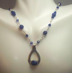 Lapis Lazuli Pendant Sapphire Gemstone Beads by ForEvaDesigns, $90.00