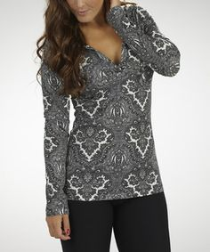 Another great find on #zulily! Black & White Dream On Hooded Top by Marika #zulilyfinds