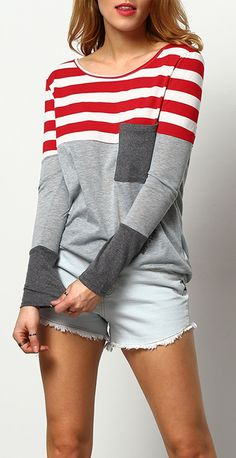 Comfortable casual stripe shirt with pocket from shein. $13.41 & 40% off 1st order!