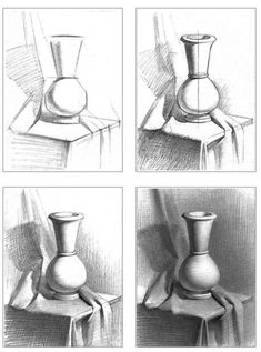 Shading Drawing, Basic Drawing, Painting & Drawing, Drawing Ideas, Painting Vases, Wall Drawing, Painting Flowers, House Painting, Tumblr Drawings