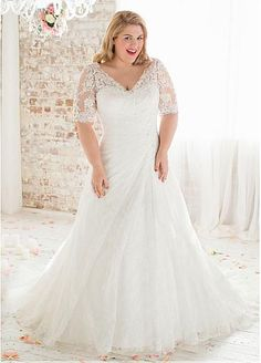 Romantic Tulle V-neck Neckline Mermaid Plus Size Wedding Dresses With Lace Appliques