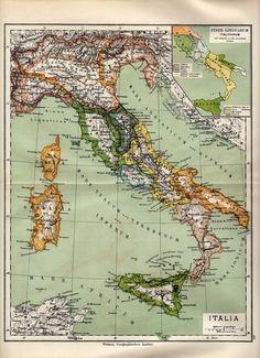 Antique map :Italy / mappa antica Italia / Sicily 1884