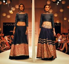 Lakme Winter 2013 Manish Malhotra dark blue lehngas