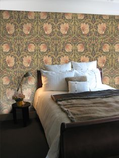 Golden Lily Wallpaper - By Morris and Co - 210403 Lily Wallpaper, Feature Wallpaper, Damask Wallpaper, William Morris Wallpaper, Morris Wallpapers, Dream Bedroom, Home Decor Bedroom, Arts And Crafts House, French Country Decorating
