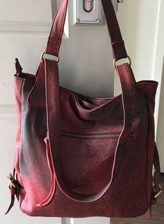 Leather convertible backpack bag. Shoulder tote made from lambskin. Handmade soft, perfect for a laptop or travel bag. Leather backpack