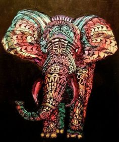 Elephant drawing #tribal #colorful