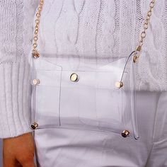 Clear Mini Envelope Clutch PVC Vinyl Plastic Purse Bag Handbag Transparent #Clutch_Bags, #Handbags