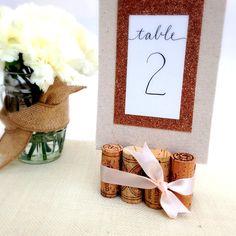 Rustic Wedding Table Number Holder, Featuring 8 Vintage Wine Corks