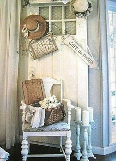 So cute to use old hats instead of a wreath on a door!  A place to hang your hat!