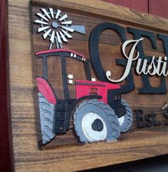 Farm Scene /Red tractor /Anniversary gift / Wedding gift / Personalized Carved Wooden Plaque / carved art
