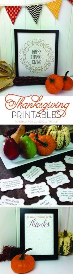 Thanksgiving Free Printables