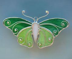 Green Stained Glass Filigree Butterfly por TheGlassCottage en Etsy