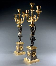 Fine Pair of Early Century French Empire Candelabra. Candelabra, Candlesticks, French Empire, 19th Century, Lamps, Candle Holders, Table Lamp, Home Decor, Lightbulbs