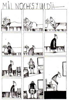 illustration by Raquel Arriola, noches y un dia es parte de una viñeta de mi vida, fanzine.