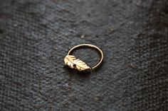 Feather nose ring  jewelry  14k yellow gold  nose by studiolil, $86.00