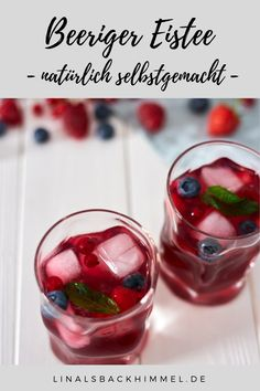 Homemade berry iced tea – just a perfect summer drink. Prepare quickly and easily. Smoothie Drinks, Healthy Smoothies, Healthy Drinks, Smoothie Recipes, Drinks Tumblr, Tumblr Food, Summer Grilling Recipes, Summer Recipes, Summer Desserts