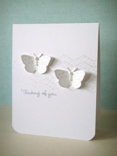 white on white butterfly card - embossed - bjl