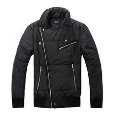 Men Slant Zipper Design Slim Korean Style Long Sleeve Black Cotton... ($47) via Polyvore
