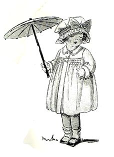 #smocking ~ a toddler wearing a smocked coat, carrying a parasol