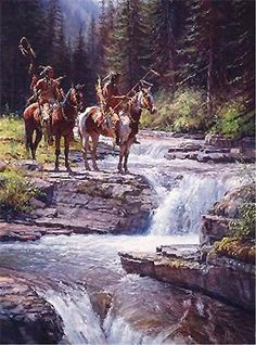 MARTIN GRELLE WHEN WATER SPEAKS INDIAN PICTURE WITH WATERFALL
