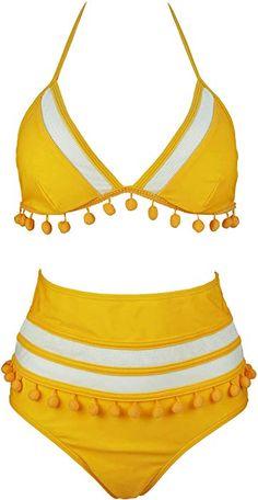 5f0326995c Amazon.com  COCOSHIP Yellow   White Mesh Striped High Waist Bikini Set  Tassel Trim Top Halter Straps Swimsuit Bathing Beachwear 4  Clothing
