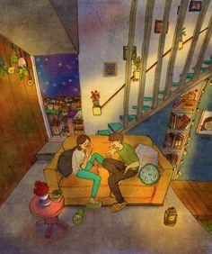 Любовь в мелочах: новые иллюстрации корейского художника Puuung любовь, отношения, Мужчина, женщина, Puuung, рисунок, художник, творчество, длиннопост