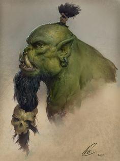 Orc Head Practice by Cole Eastburn Fantasy Races, High Fantasy, Medieval Fantasy, Fantasy Portraits, Character Portraits, Fantasy Artwork, Fantasy Monster, Monster Art, Fantasy Character Design