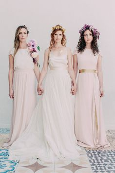 modern romance wedding bridal party attire Wedding Chicks Day of Gal Weddings Gustv Klimt inspired wedding Inspired shoot