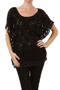 95 percent Polyester 5 percent Elastic 1S/1M/1L/1XL Per Pack Black (shown), Beige This HIGH QUALITY top is BEAUTIFUL!! Made from a very soft and comfortable fabric, this sweet all over lace top with scoop neckline and scalloped hem line is nice & light, and fits true to size.