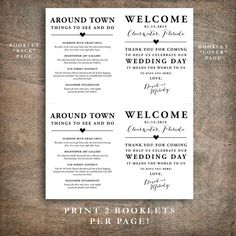 Printable welcome bag bag booklet with four pages. Great for your hotel, out of town, and destination wedding guest welcome bags. Four page layout includes a Welcome message from the bride and groom on the cover, and up to three additional pages for extra information (inside right, inside left, back cover). Use these pages to provide itinerary, shuttle schedules, local attractions, description of welcome bag contents, or any information of your choosing. These are really cute tucked in the…