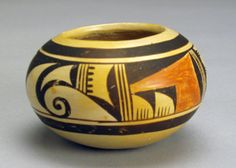 Hopi polychrome jar by Nellie Nampeyo.  This piece is in very good condition and clearly signed on base.