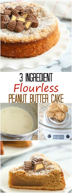 This 3 ingredient flourless peanut butter cake is simple, gluten-free, and tasty. It make a great afternoon snack cake. I created this recipe several years ago, but after cringing too many times at those old photos, Flourless Peanut Butter Cake, Flourless Desserts, Flourless Cake, Low Carb Desserts, Just Desserts, Delicious Desserts, Yummy Food, Gluten Free Cakes, Gluten Free Baking