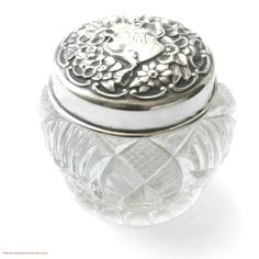 FrenchGardenHouse.com   Antique Sterling Silver Repousse Rose Vanity Jar